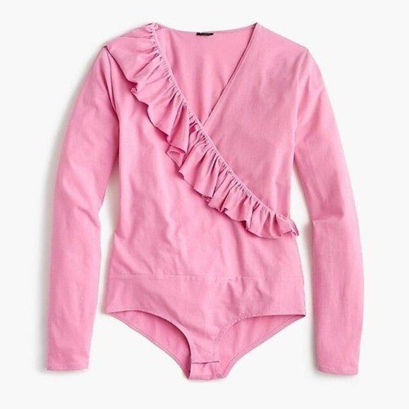 J. Crew Tops - J. CREW Ruffle Front Wrap Bodysuit Pink {RR41}